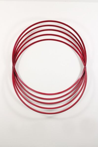 Shayne Dark, 'Erratic Colour Candy Red - geometric abstract, circles, steel, wall sculpture', 2015