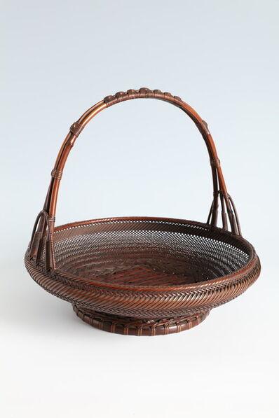 Maeda Chikubōsai I, 'Handled Circular Flower Basket in Chinese Style (T-4111)', Showa era (1926-1989) 1930s