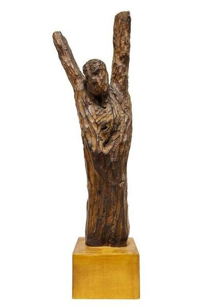 Chaim Goldberg, 'Large Modernist Carved Wood Judaica Sculpture', 20th Century
