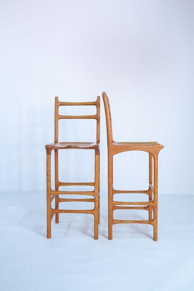 American Studio, 'Pair of tall back american studio bar stools', vers 1970