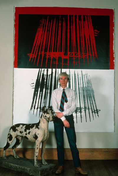 "Thomas Hoepker, 'Andy Wharhol with a great dane and light dome prints in his ""Factory"" at Union Square', 1981"