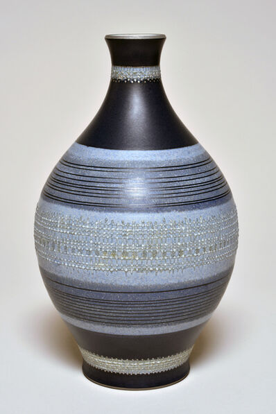 Sèvres Porcelain Manufactory, 'De Nerville D Vase with Blue Ground (décor Pierre Jacquot 10.57) ', 1957