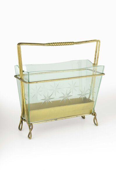 Cristal Art, 'A magasine rack in brass and cut glass', 1950 ca.