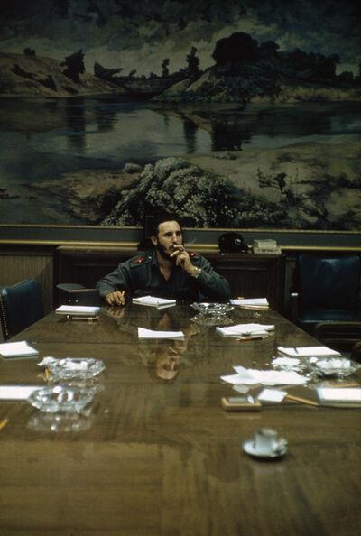 Burt Glinn, 'Fidel Castro at table with cigar', 1959
