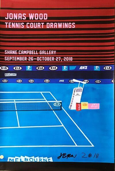 Jonas Wood, 'Jonas Wood Tennis Court Drawings (Hand Signed with basketball)', 2018