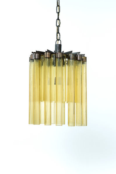 Archimede Seguso, 'Ceiling lamp in brass and Murano glass', vers 1950