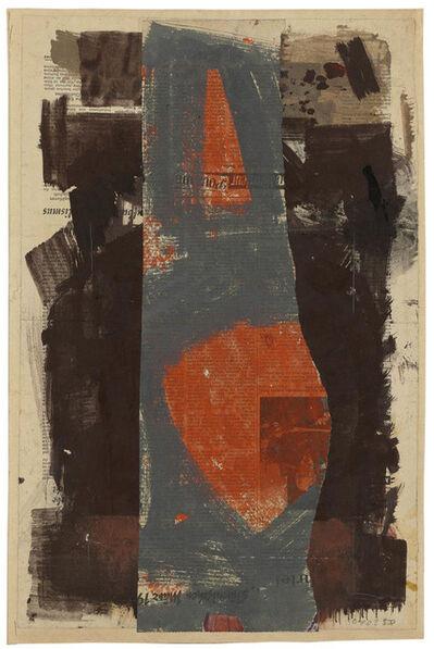 Hermann Glöckner, 'Rote Flecken in Grau, zwischen braunen Bahnen', 1958