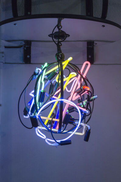 Alê Jordão, 'Pushing Ball, Neon Globe', 2017