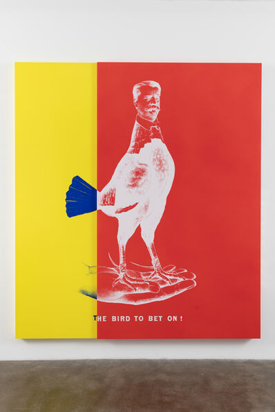 Kathryn Andrews, 'WEE MAN FOR PRESIDENT aka Historical Campaign Poster Painting No.3 (The Bird to Bet On)', 2015