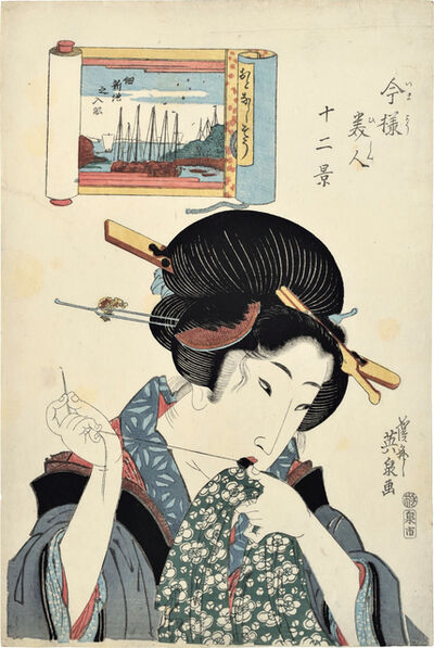 Keisai Eisen, 'Twelve Views of Modern Beauties: Boats on the River at Tsukuda Shinchi, the Gentle Type, Mending', ca. 1822-23