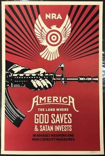 Shepard Fairey, 'God Saves & Satan Invests NRA Edition', 2013
