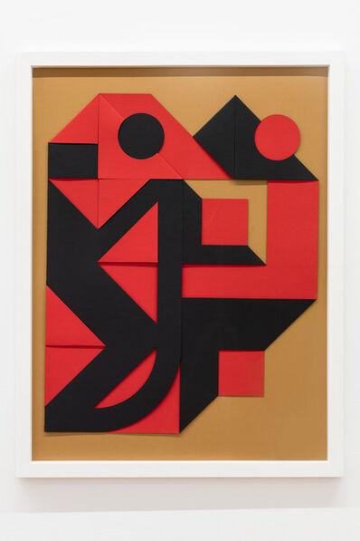Enrico Castellani, 'Rosso - nero', 1999