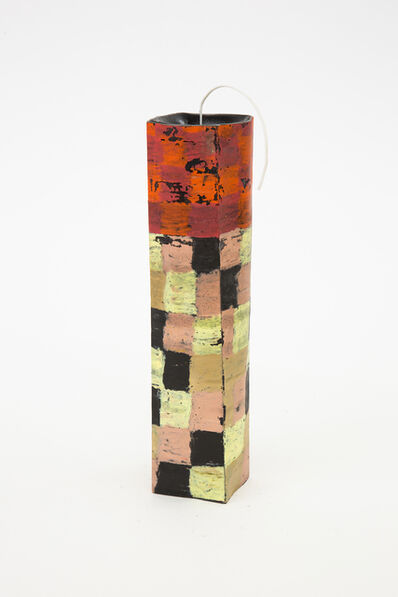 Crying Clover Candles, 'Tower in bright red, brick red, yellow, taupe, black and pink', 2020