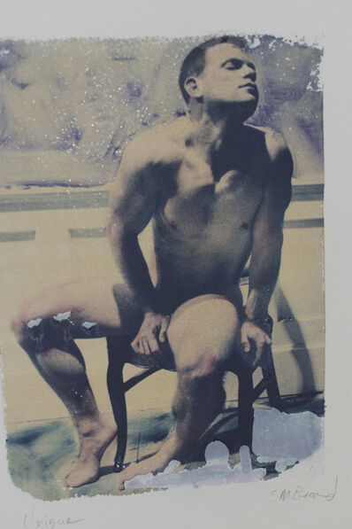 Mark Beard, ' Untitled 01 (Polaroid Transfer of Sitting Young Man Nude on Rives BFK)', 1996