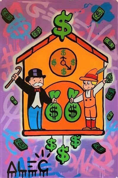 Alec Monopoly, 'Monopoly and Richie on Clock Box', 2019