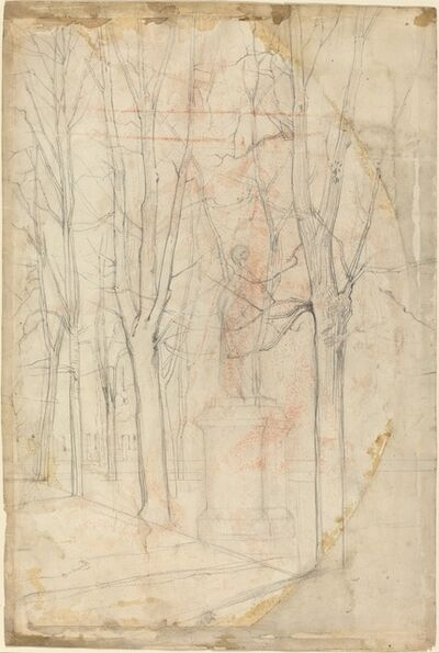 Félix Hilaire Buhot, 'Sketch of Trees with a Statue on a Pedestal'