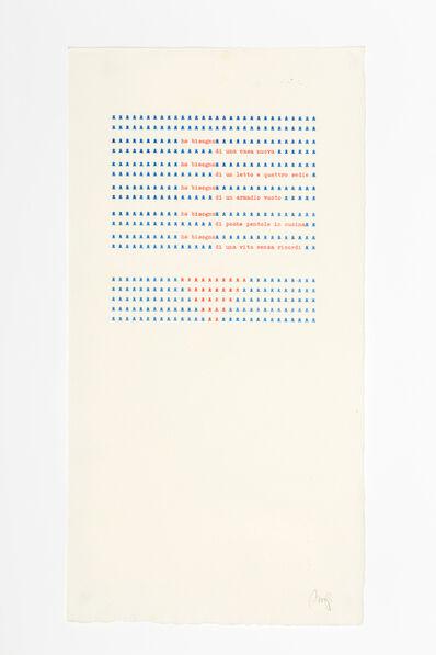 Tomaso Binga, 'Ho bisogno di una casa nuova,', 1978