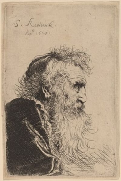 Salomon Koninck, 'Bust of an Old Man in Profile, Facing Right', 1638
