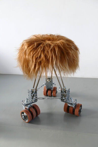 Marina Faust, 'Rolling Stool (bear brown and triple orange)', 2020