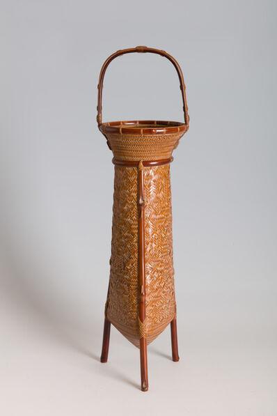 """Iizuka Rōkansai, '""""Heaven, Earth, and Man"""" Handled Flower Basket (T-2305)', Showa era (1926, 1989), 1926, 1932"""