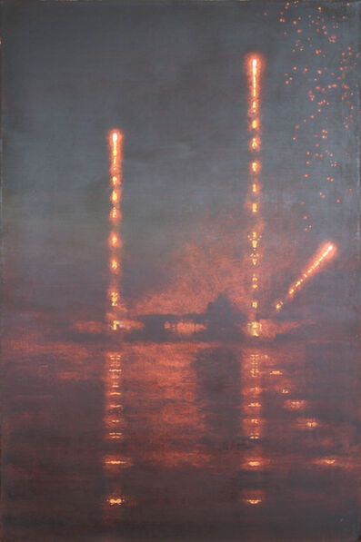 Stephen Hannock, 'Incendiary Nocturne; Bridge Launch (Mass MoCA #221)', 2015