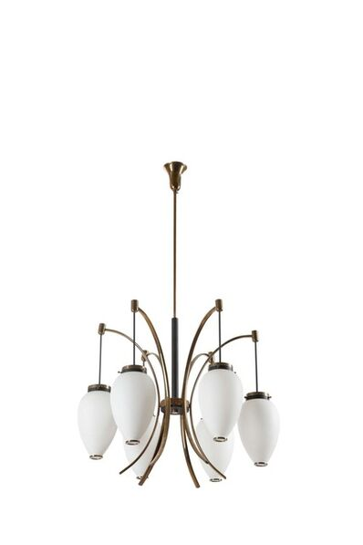 Stilnovo, 'A pendant lamp with a brass structure and opaline glass diffuser', 1950 ca.