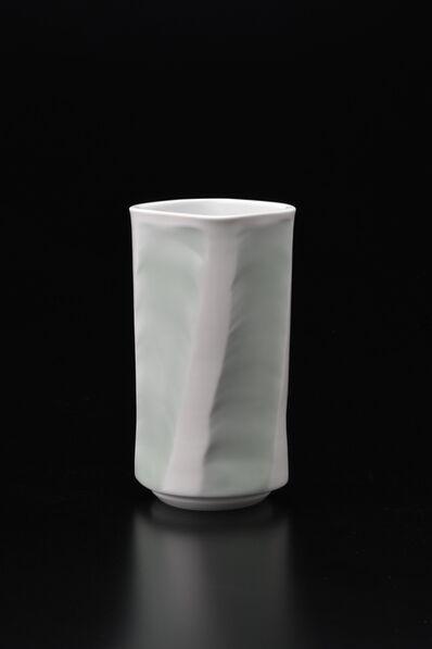 Manji Inoue, 'Engraved Hakuji (white porcelain) Chamfered Vase with Green Glaze', 2019