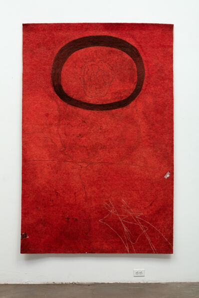 Gary Goldberg, 'Finding the Universe in Oaxaca, Floating Oval on Deep Red Ground', 2018