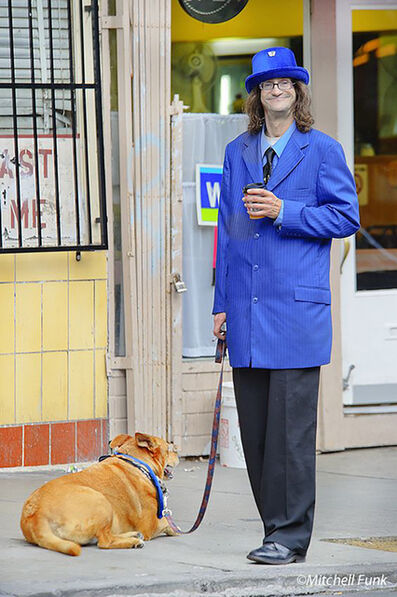 Mitchell Funk, 'Man in Excessively Long Blue Coat . Tenderloin San Francisco', 2009
