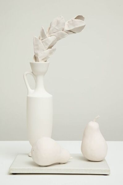 Anat Shiftan, 'Still Life in White with Lekythos, Branch, and Two Pears', 2017