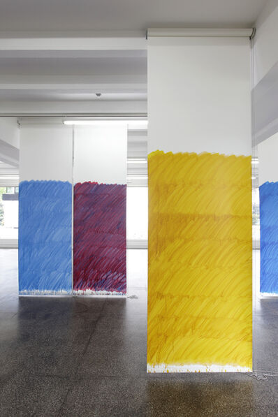 Stephen Prina, 'Blind No. 10, Fifteen-foot ceiling or lower, (Cerulean Blue, Chromium/Quinacridone Crimson/Yellow Ochre/Nicel Azo Yellow)', 2011