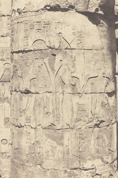 Félix Teynard, 'Karnak (Thèbes), Palais--Salle hypostyle--Colonnade Centrale--Décoration d'un Fut', 1853