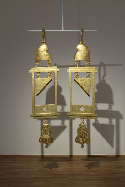 Simon Fujiwara, 'A Dramatically Enlarged Set of Golden Guillotine Earrings Depicting the Severed Heads of Marie Antoinette and King Louis XVI', 2019
