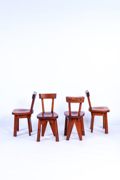 Rene Faublee, 'Four chairs in pine', vers 1950