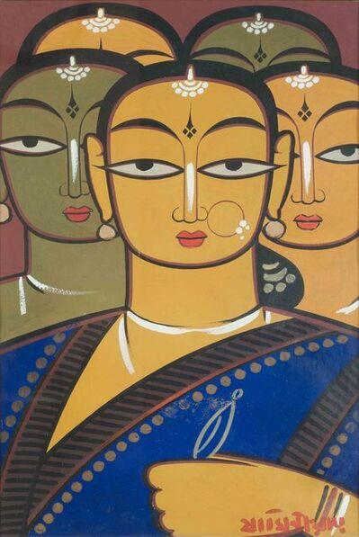 Jamini Roy, 'Abhisarika, figurative, gouache on paper by Padma Bhushan awardee Jamini Roy'