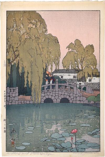 Yoshida Hiroshi, 'Willow and Stone Bridge', 1926