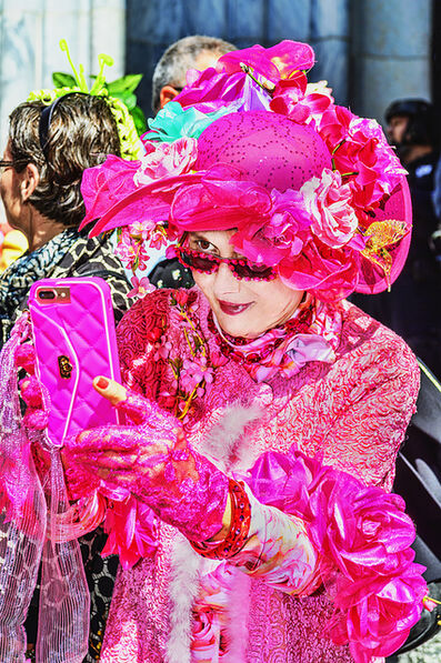 Mitchell Funk, 'Pink Selfie. Ornate Hat on older woman', 2019