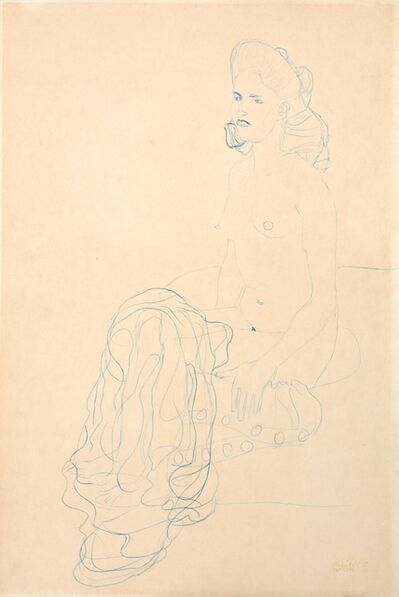 Gustav Klimt, 'Half Nude to the Left', ca. 1907