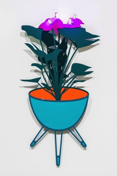 Joanna Lamb, 'Bullet Planter with Flamingo Flower (purple neon)', 2015