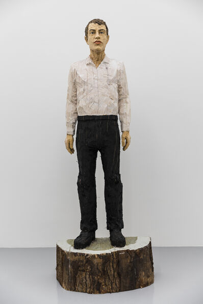Stephan Balkenhol, 'Man with black trousers and white shirt', 2016