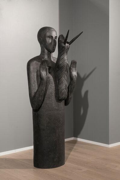 Mimmo Paladino, 'Testimone (figure with horned animal)', 1997