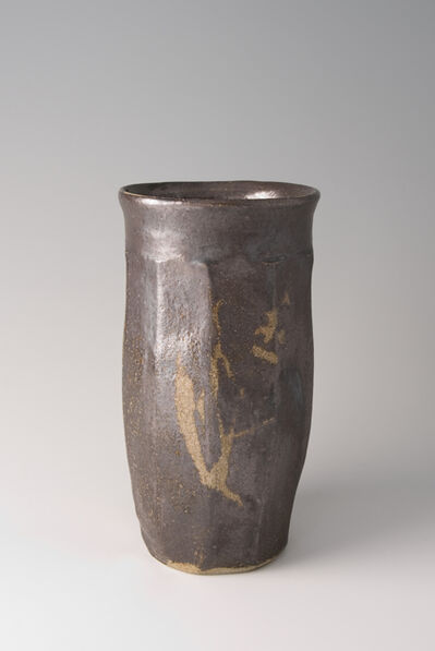Shōji Hamada, 'Faceted vase, salt glaze with wax resist brushwork', 1960