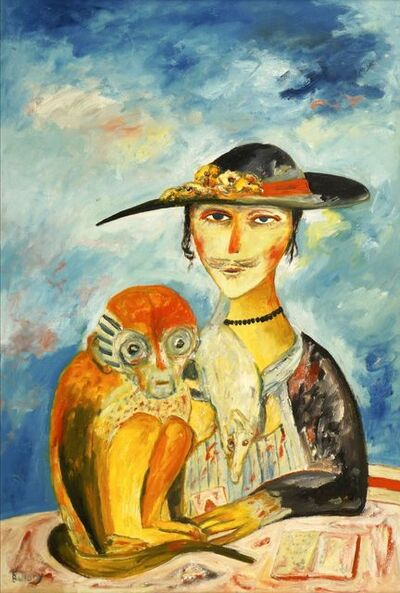 John Bellany R.A., 'Cat Woman with Monkey'