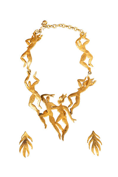 Harve Van Der Straeten, 'Rare Vermeil Figural Necklace & Earrings by Herve Van Der Straeten', ca. 1990