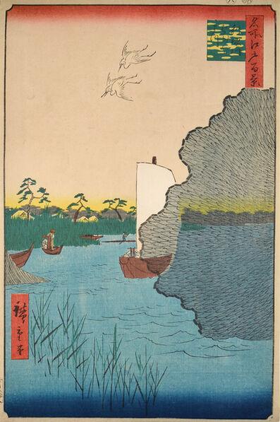 Utagawa Hiroshige (Andō Hiroshige), 'Scattered Pine Trees at Tone River', 1856