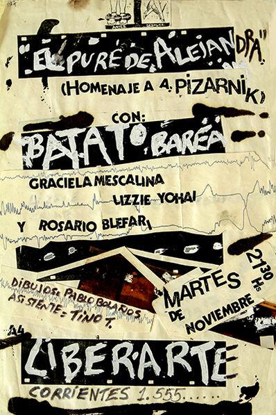 "Batato Barea, 'Collage original para Aficheta de la obra ""El Puré de Alejandra, Homenaje a Pizarnik""', 1986"