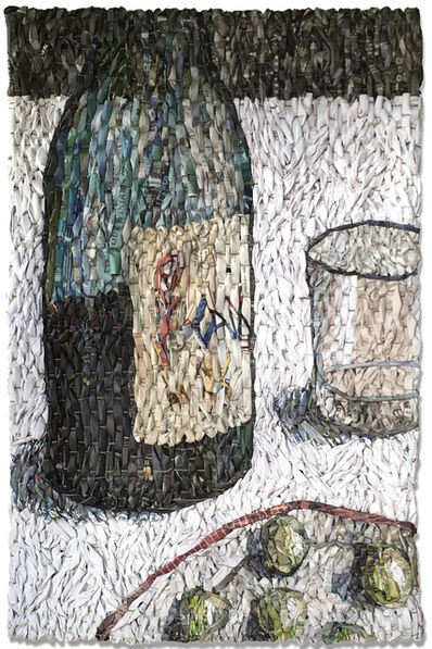 Gugger Petter, 'Tabletop with Wine Bottle, Empty Glass, and Plate', 2017