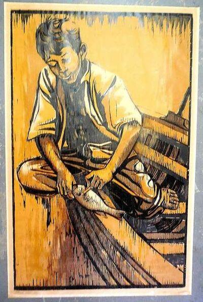 Moshe Gat, 'Fisherman, large Woodcut', 1950-1959