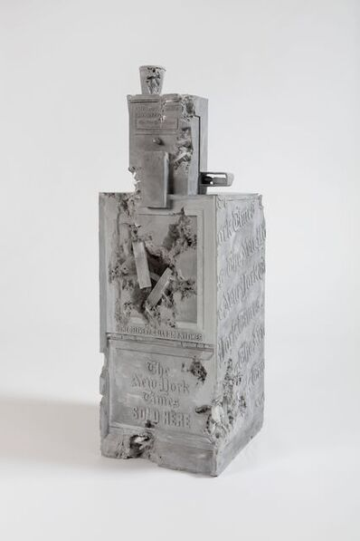 Daniel Arsham, 'Grey Selenite Newspaper Machine', 2019