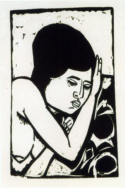 Ernst Ludwig Kirchner, 'Brustbild eines liegenden Aktes (Dodo)', 1911